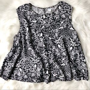 Woodland Print Sleeveless Swing Blouse